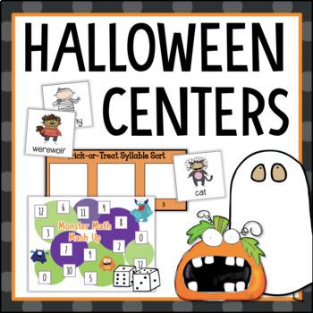 Halloween Math Reading Centers Games Activities