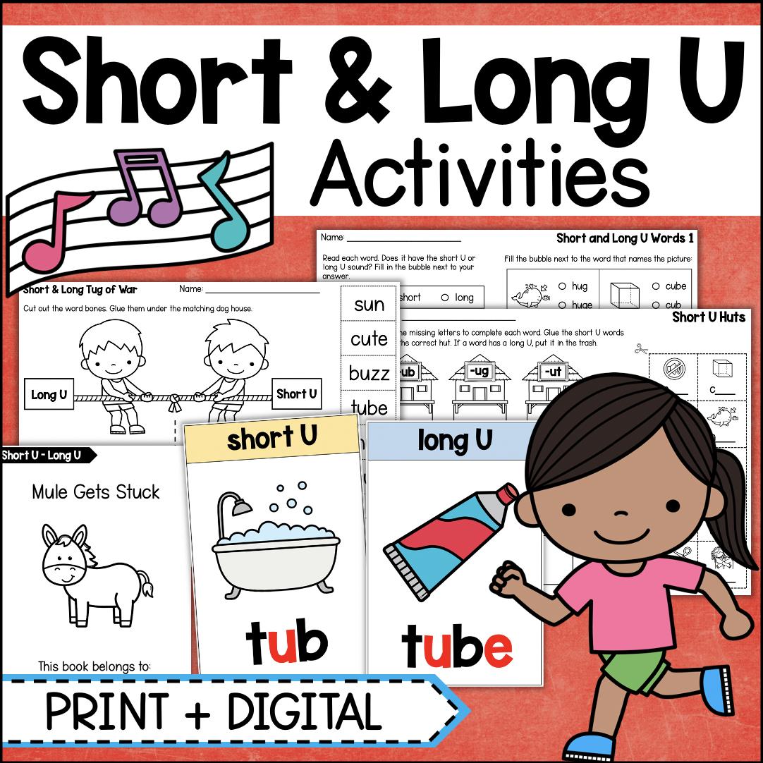 Short U Long U Vowels Phonics Worksheets