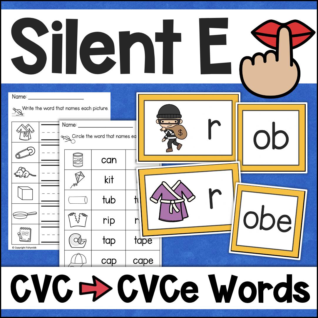 Silent E CVCe Words Phonics Worksheets