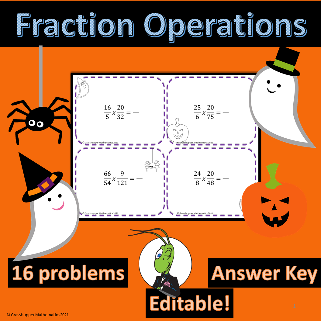 Fraction Operations Task Cards Halloween