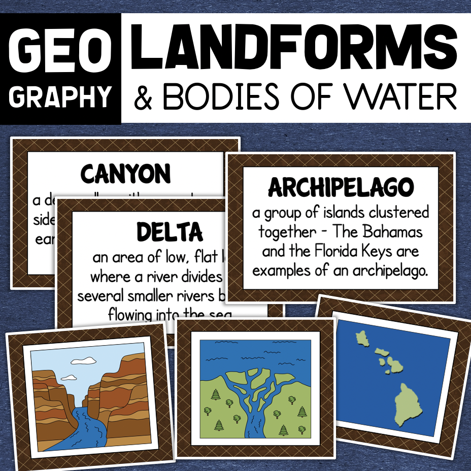 Landforms and Bodies of Water Geography Vocabulary