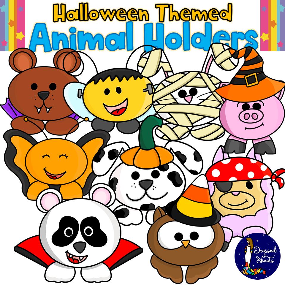 Halloween Themed Animal Holders Clip Art