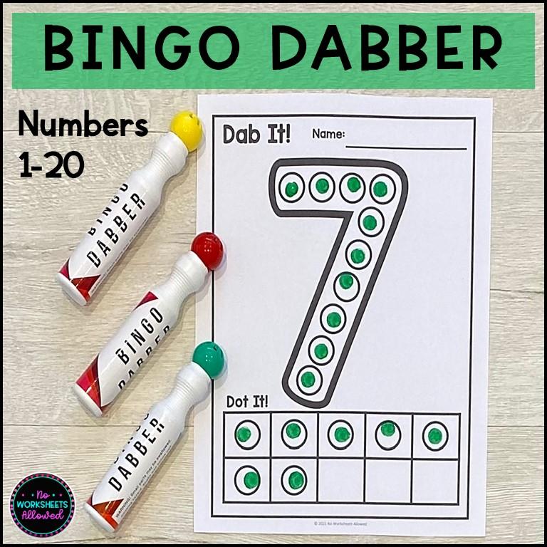 Bingo Dabber Number Recognition 1-20 Activities