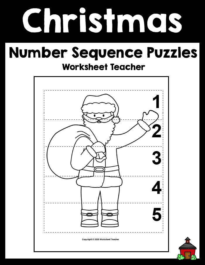 5 Christmas Number Sequence B&W Picture Puzzles