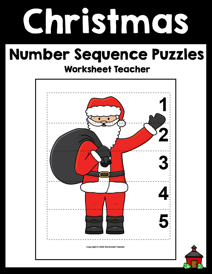 5 Christmas Number Sequence Picture Puzzles