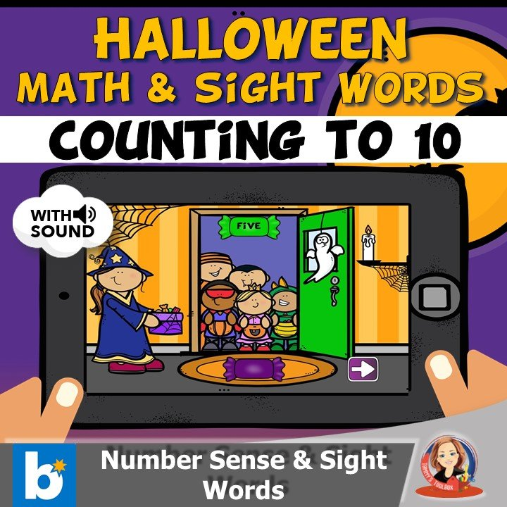 Halloween Math and Number Words to 10 Boom Cards