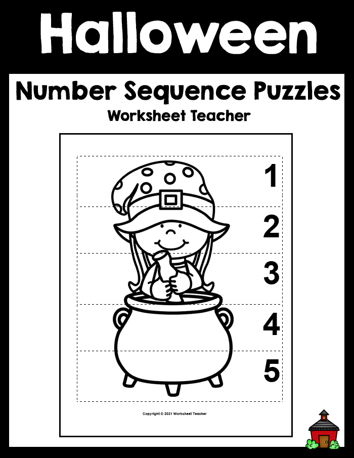 5 Halloween Number Sequence B&W Picture Puzzles