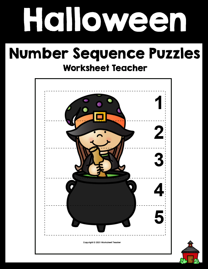 5 Halloween Number Sequence Picture Puzzles