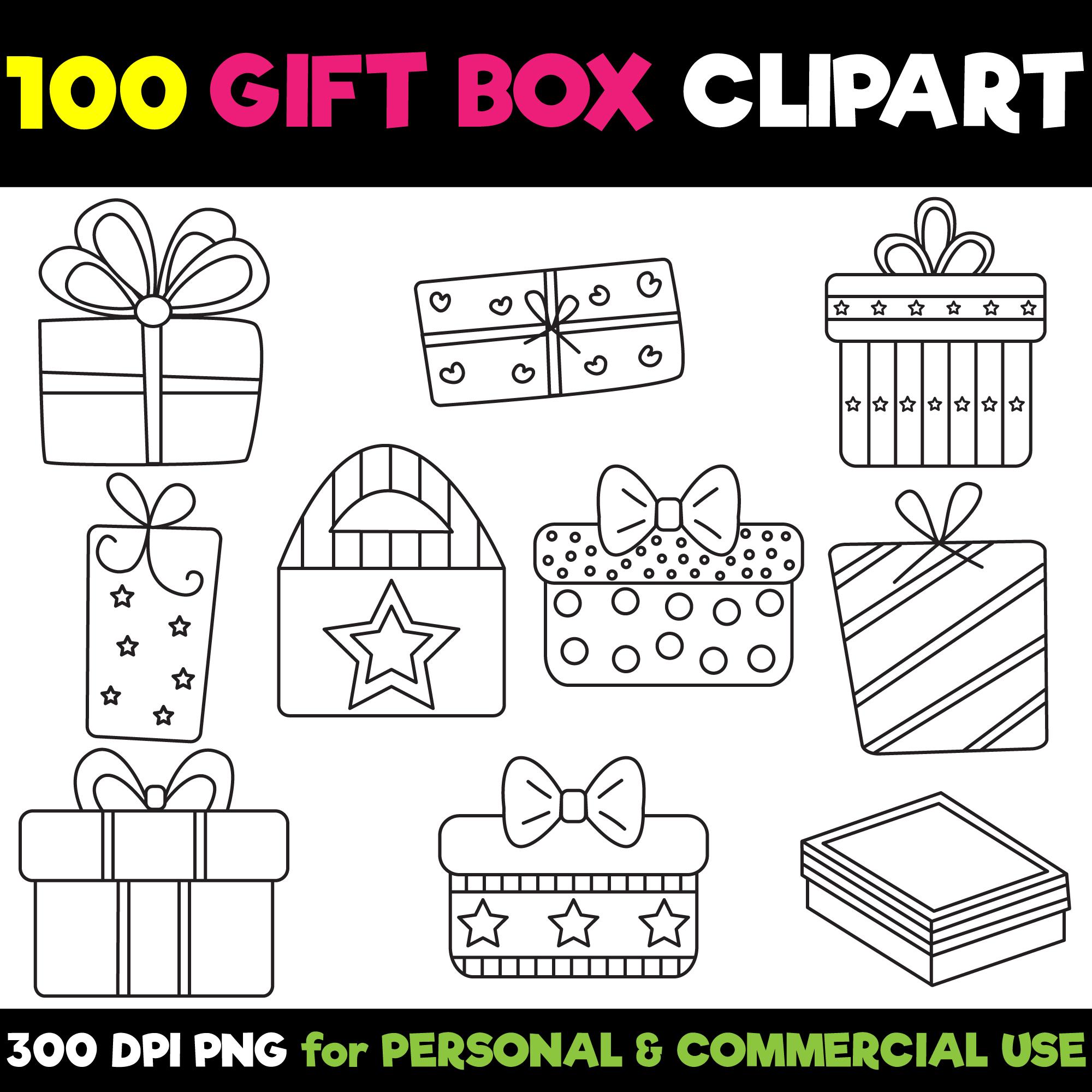 100 Gift Box Clipart Set