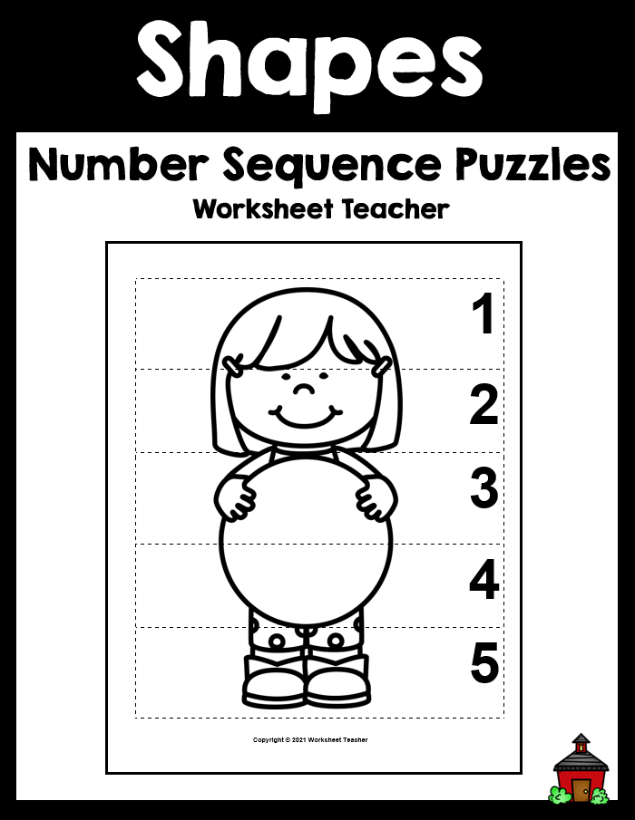10 Shapes Number Sequence B&W Picture Puzzles