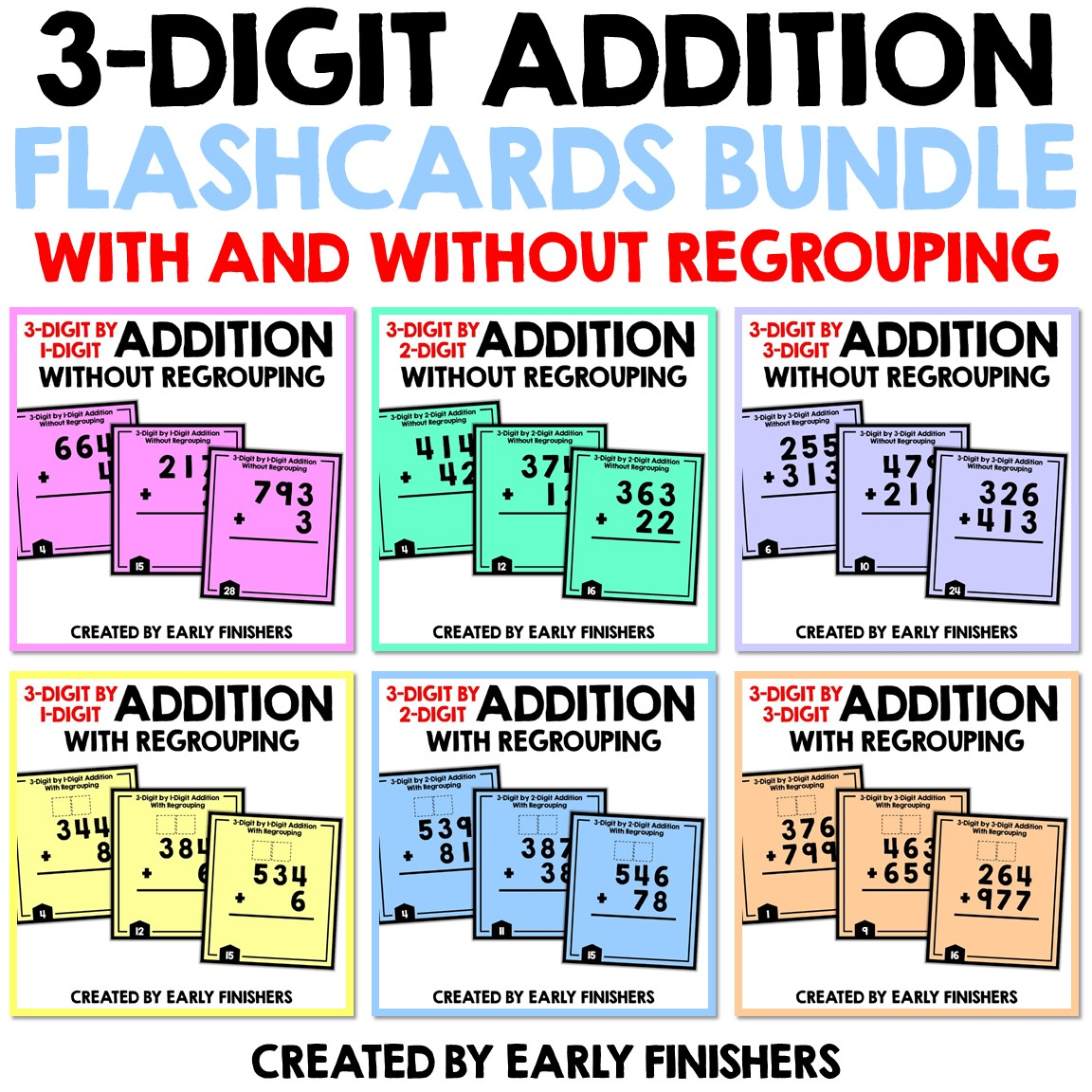 3 Digit Addition With Without Regrouping Bundle