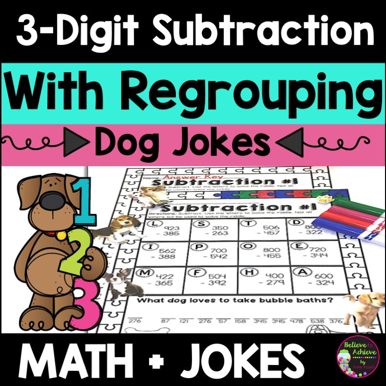 3-Digit Subtraction With Regrouping Worksheets Dog