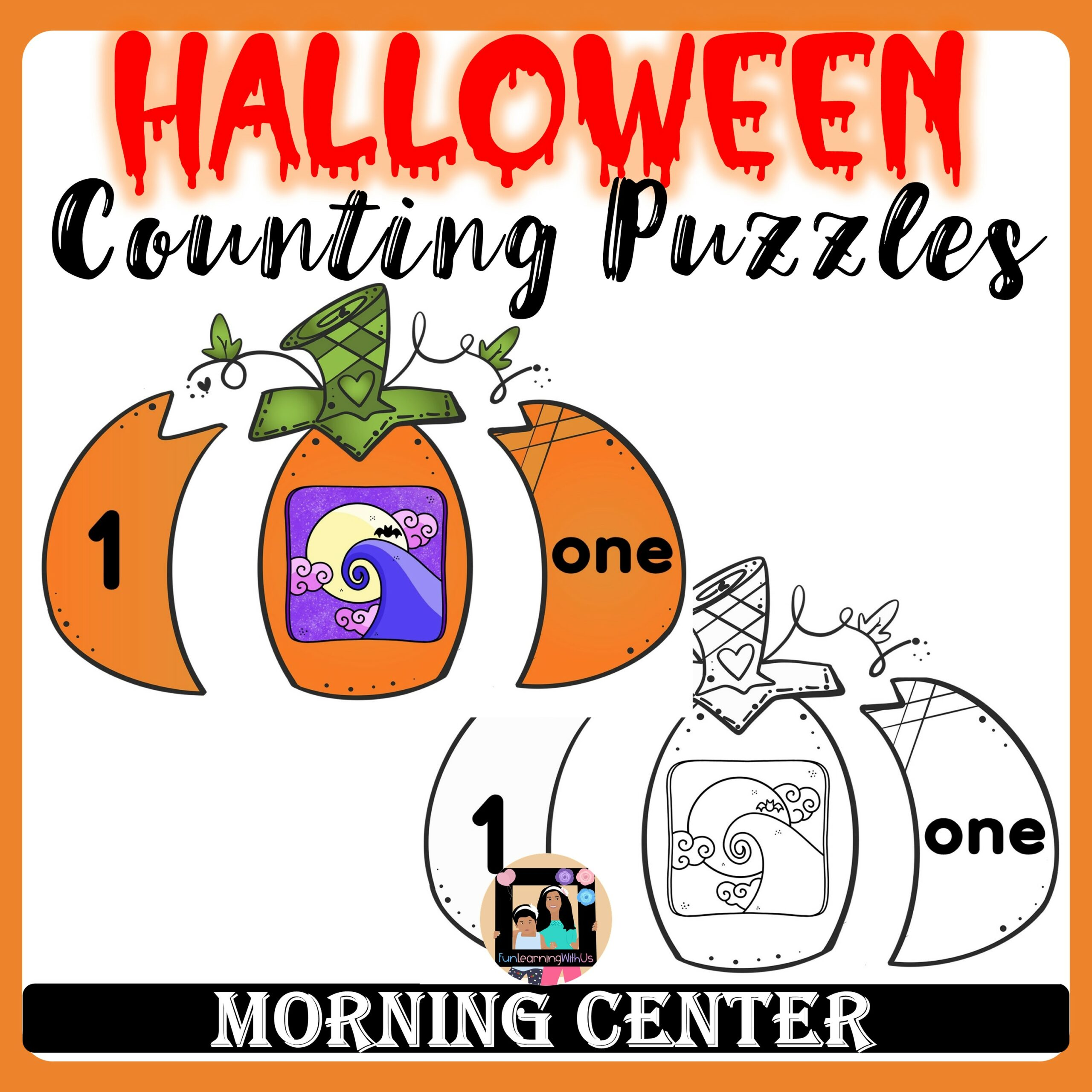 Build a Pumpkin Number Counting Puzzles  Halloween