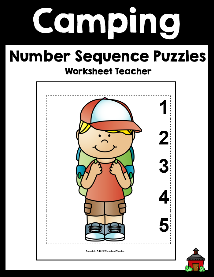 Camping Number Sequence Preschool Picture Puzzles