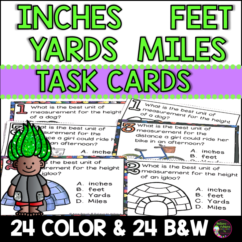 Inches Feet Yards Miles Task Cards