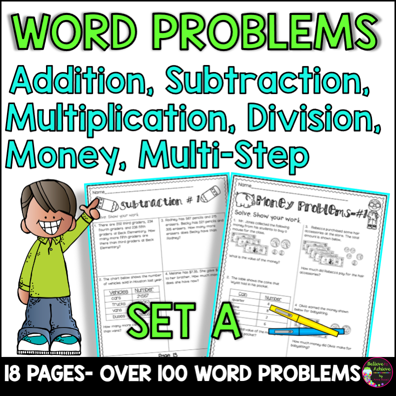 Word Problems 3rd Grade Worksheets Set A