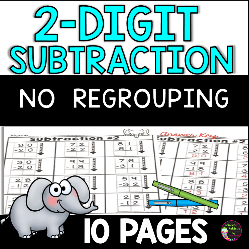 2-Digit Subtraction No Regrouping Worksheets