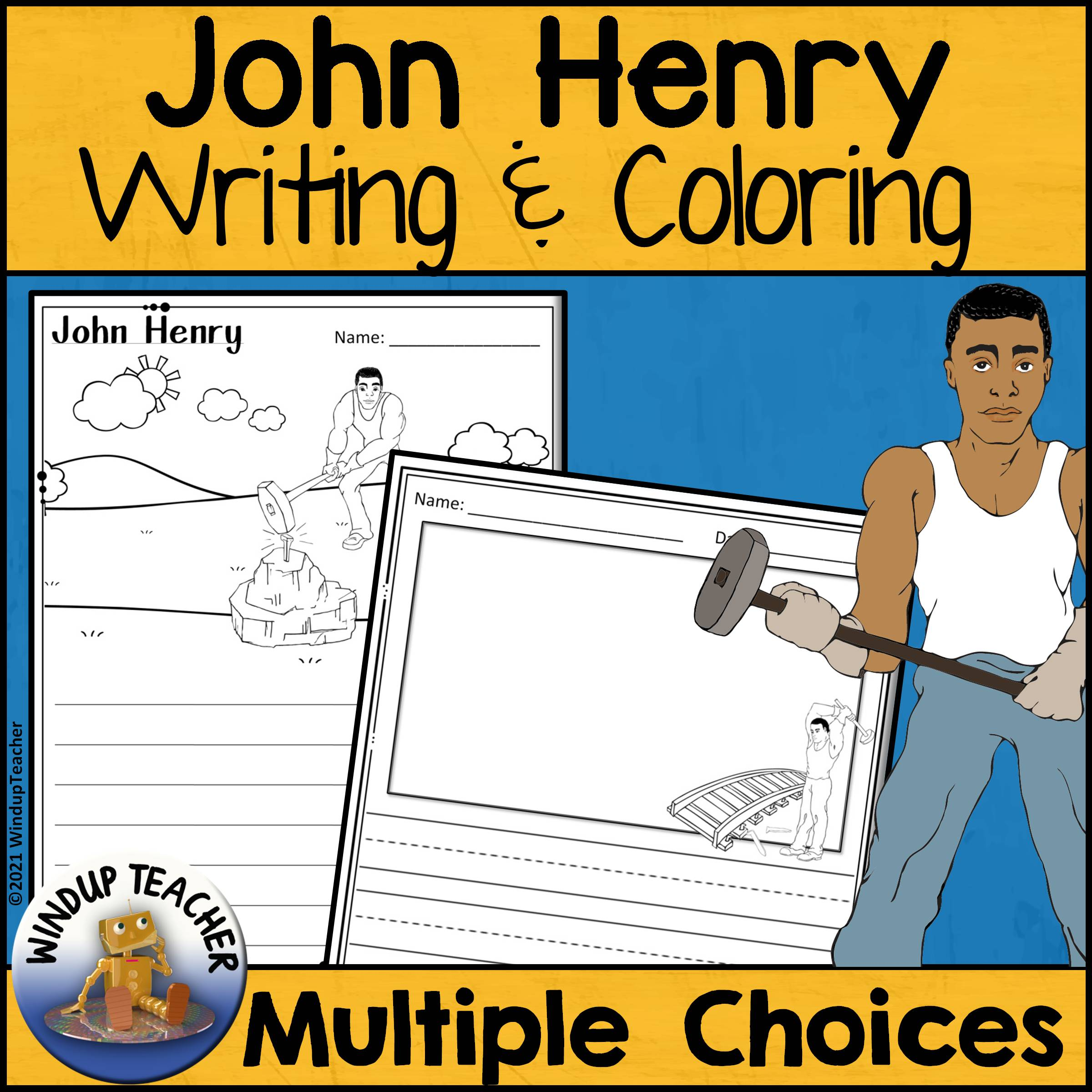 John Henry Writing Paper and Coloring Pages