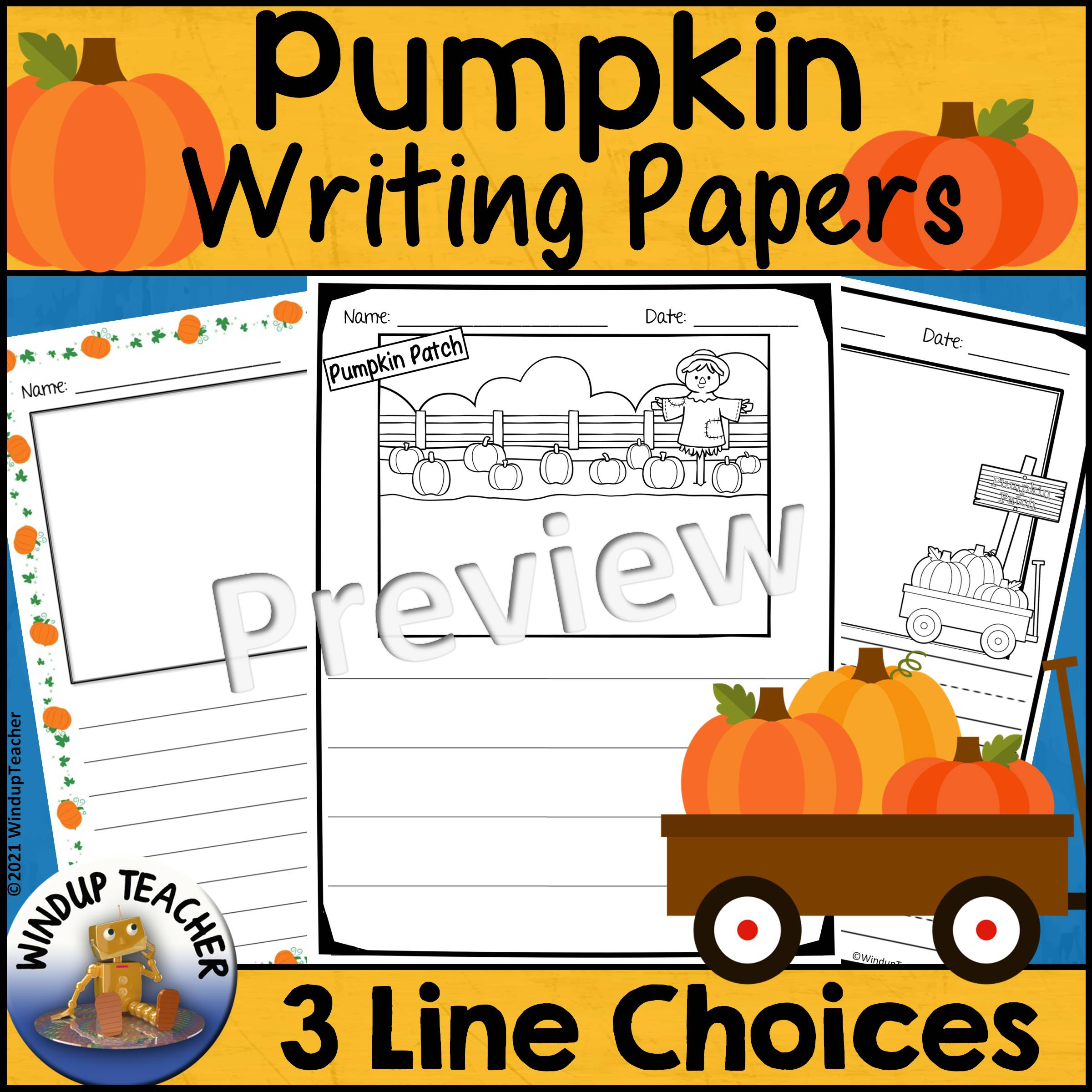 Pumpkin Writing Papers for Fall or Autumn