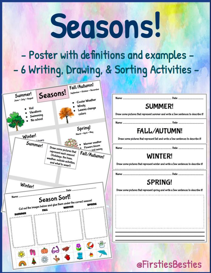 4 Seasons Activities, Poster! Seasons of the Year