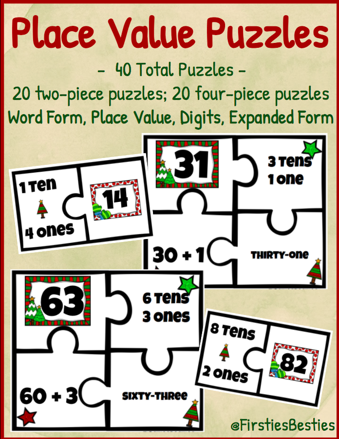 Place Value Puzzle Activities! Winter Christmas