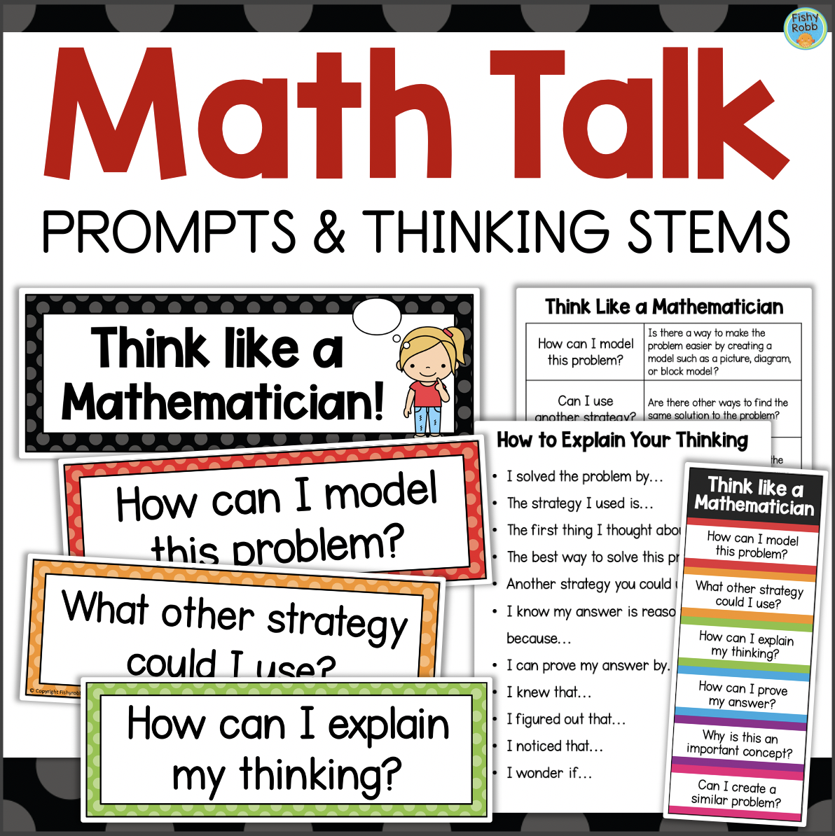 Math Talk Prompts and Thinking Stems Posters