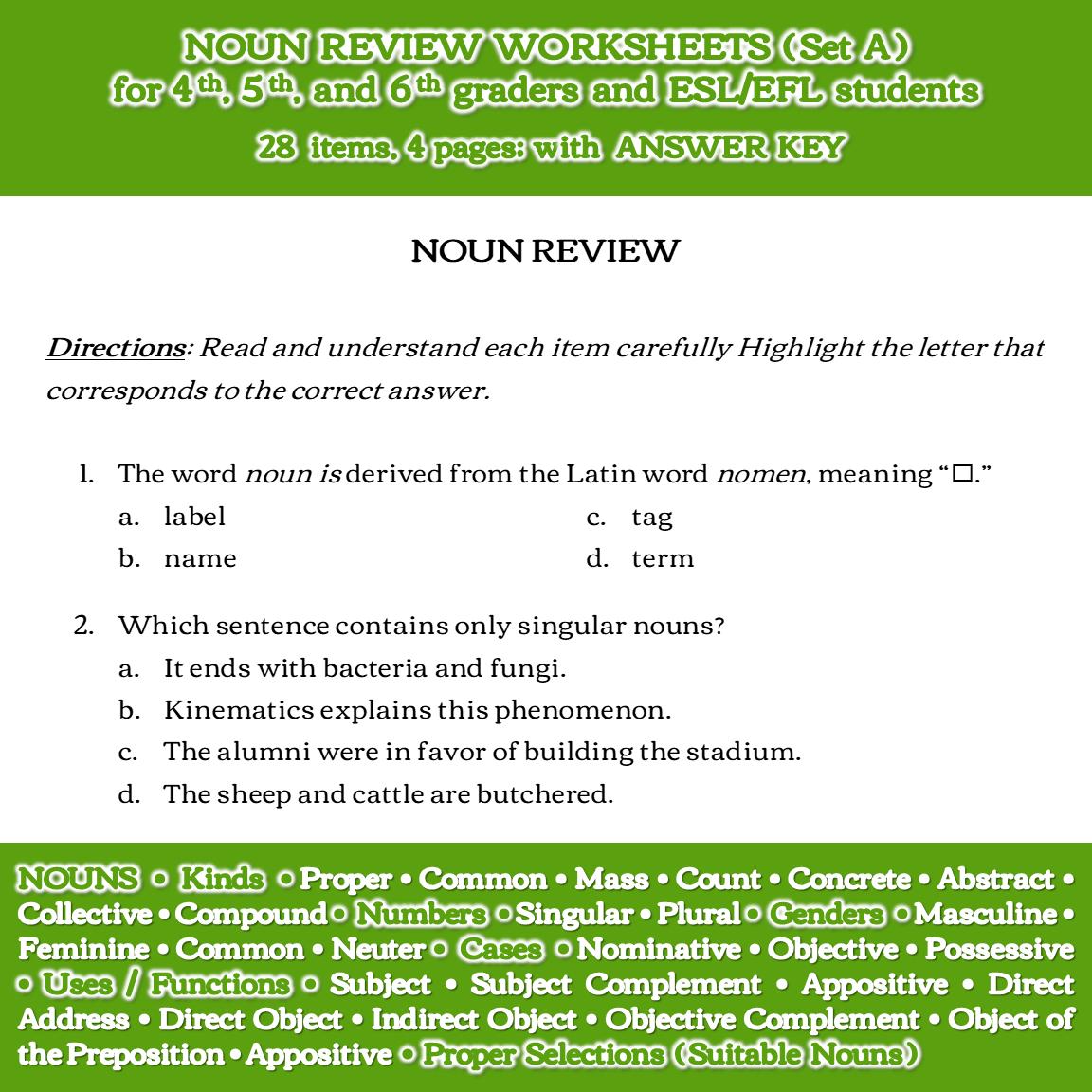 Noun Review Worksheets (Set A)