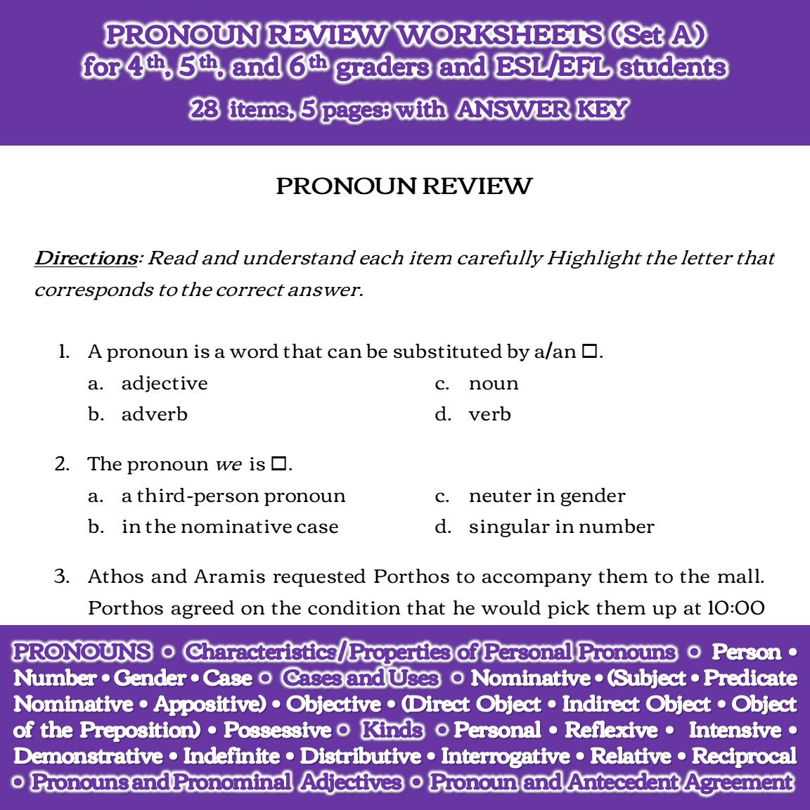 Pronoun Review Worksheets (Set A)