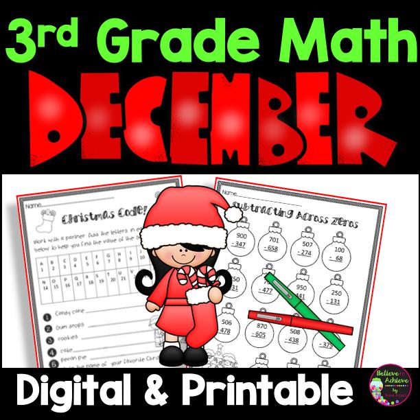 3rd Grade Math for December Worksheets